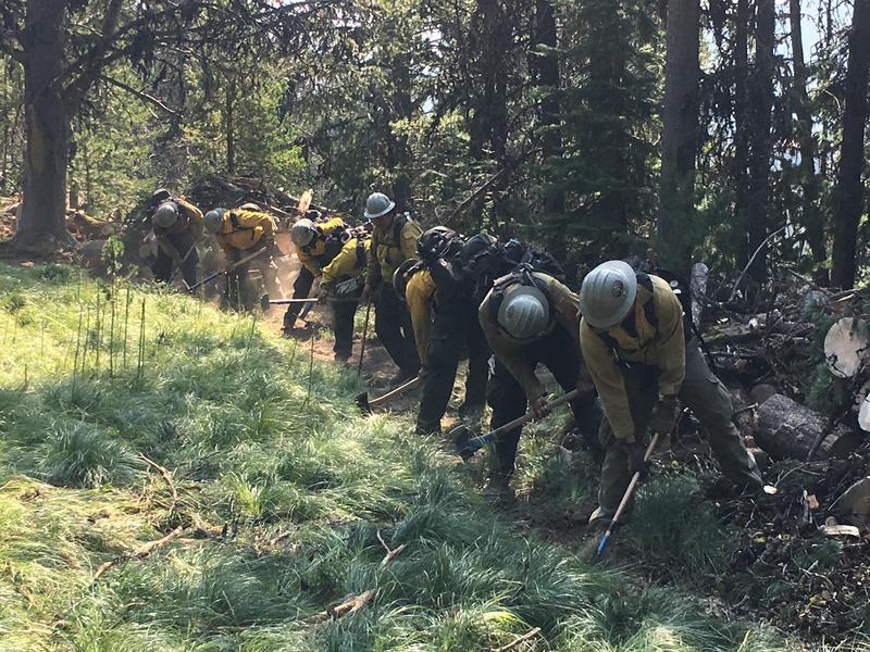 Digging fireline on the Sliderock Fire