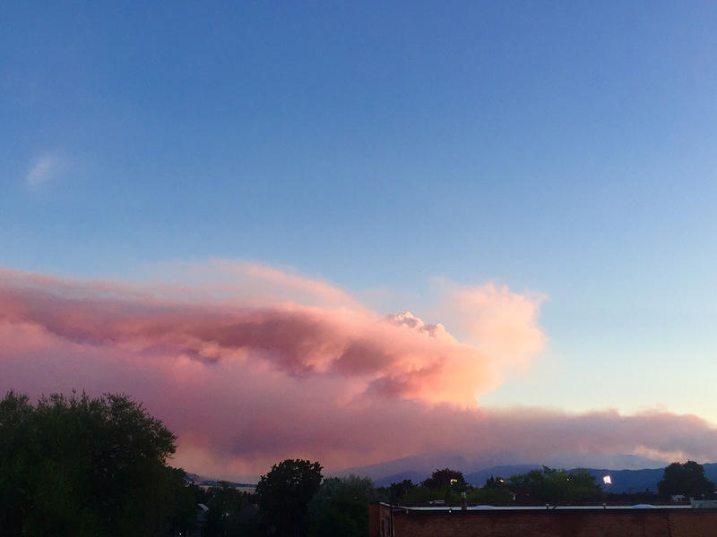 Smoke plume from the Lolo Peak fire as seen from Missoula the evening of 8/18.