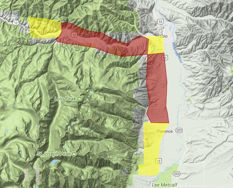 Evacuation and warning areas for the Lolo Peak Fire, August 18, 2017.