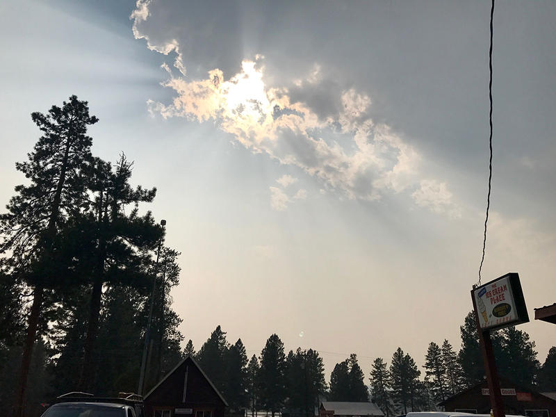 Extremely unhealthy air has prompted the health department to recommend that people should leave Seeley Lake, or at least try to sleep somewhere else. This view of the smoke from Seeley Lake was captured on the afternoon of August 10, 2017.
