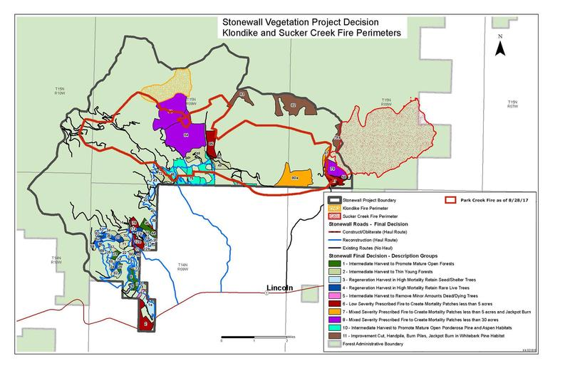 The Park Creek Fire perimeter overlaid on top of the Stonewall Vegetation project map.