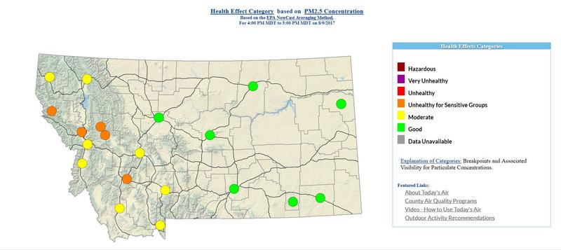 Montana air quality map for August 9, 2017.