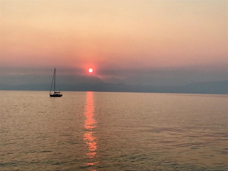 The sunrise through smoky skies at Lakeside this morning