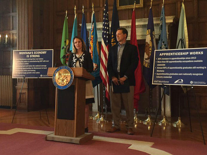 Montana Department of Labor Commissioner Pam Bucy joined Governor Steve Bullock in the Capitol Tuesday, September 5, to release the Labor report.