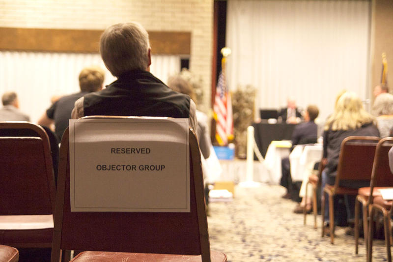 A section reserved for objectors at the September 19, 2017 public hearing on the proposed Creston water bottling plant in Kalispell. This past January the plant was granted a water right permit by the state.