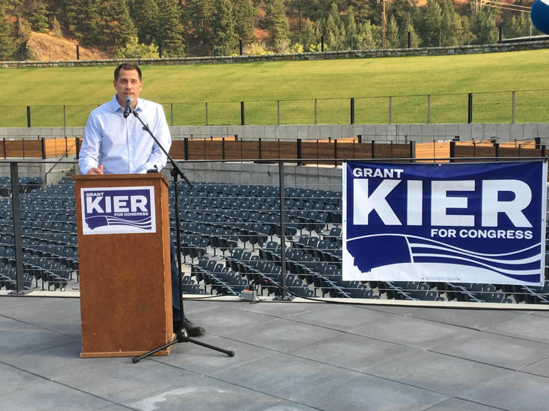 Grant Kier announces his intention to run for Montana's U.S. House seat at the Kettlehouse Amphitheater in Bonner, Montana, September 12, 2017.