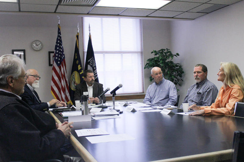 "Greg Gianforte meets with representatives from the Blackfoot Challenge, the Lincoln Restoration Committee and the Rocky Mountain Elk Foundation in Helena, Montana on September 15, 2017 as part of what he calls a ""forest jobs tour.""."
