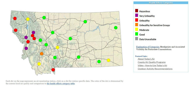 Air Quality Update For Western Montana September MTPR - Map of western montana