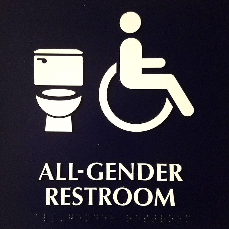 All gender restroom sign.