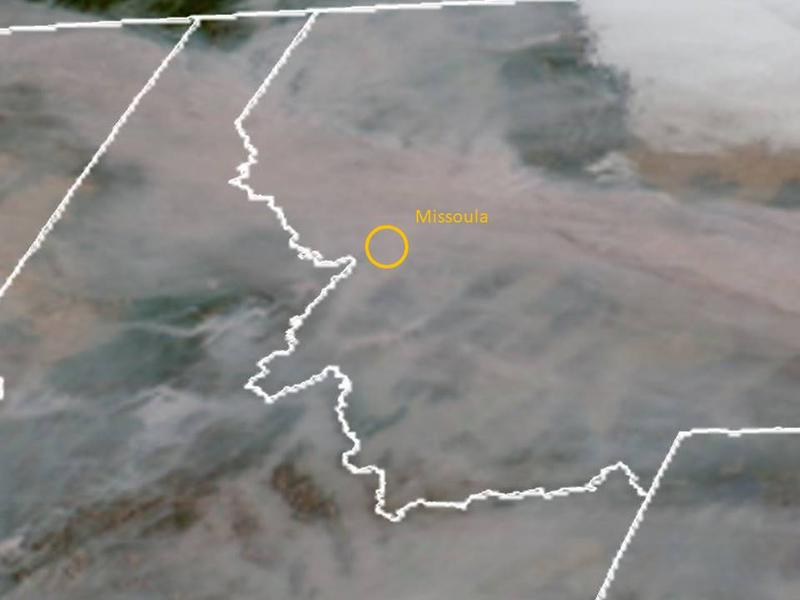 A closeup satellite image shows a thick layer of wildfire smoke covering Idaho and Montana, September 4, 2017.