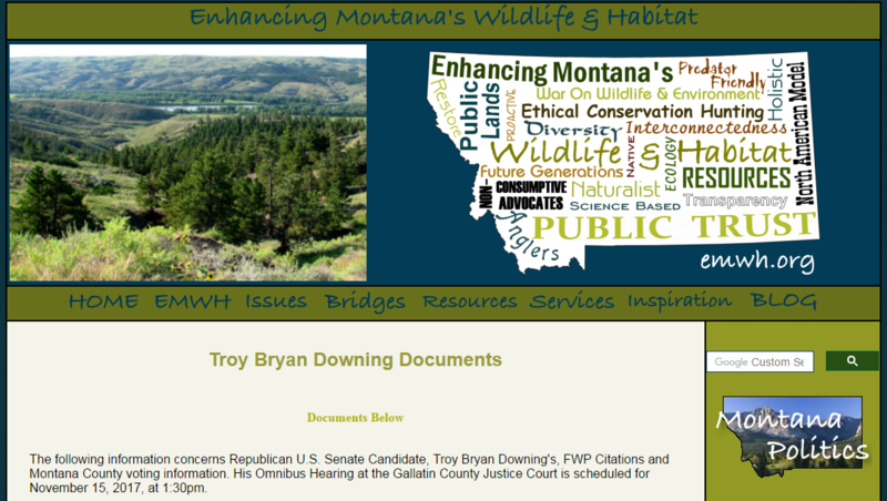 The website Enhancing Montana's Wildlife and Habitat uncovered citations against Troy Downing