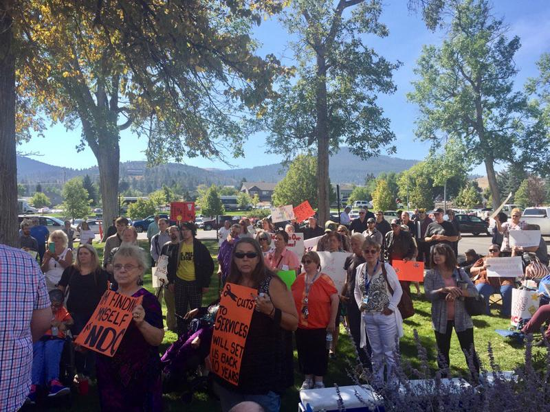 Crowd outside the Montana Capitol protesting pending state budget cuts to health department, and other agencies, Sept. 11, 2017.
