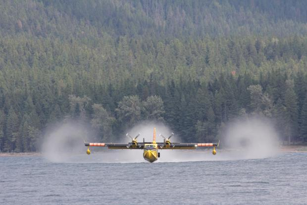 CL415 super scooper working the Sprague Fire, September 10, 2017.