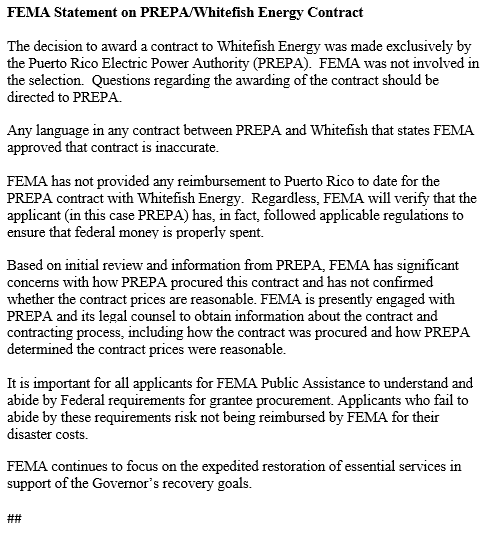 "FEMA says it had no part in selecting Whitefish Energy and has ""significant concerns"" about the contract."