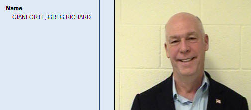 US Rep. Greg Gianforte's booking photo. In July he pleaded guilty to misdemeanor assault of a journalist