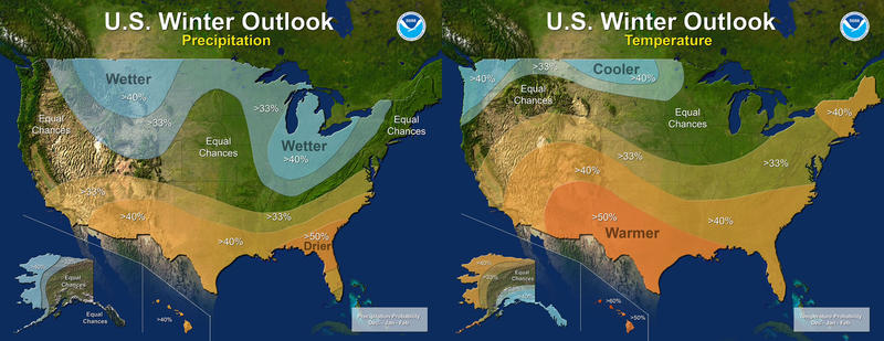 U.S. Winter Outlook for temperature and precipitation.