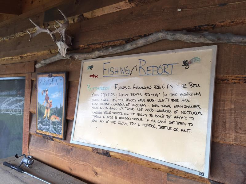 A Bitterroot River fishing report outside Osprey Outfitters, a fly fishing shop in Hamilton.