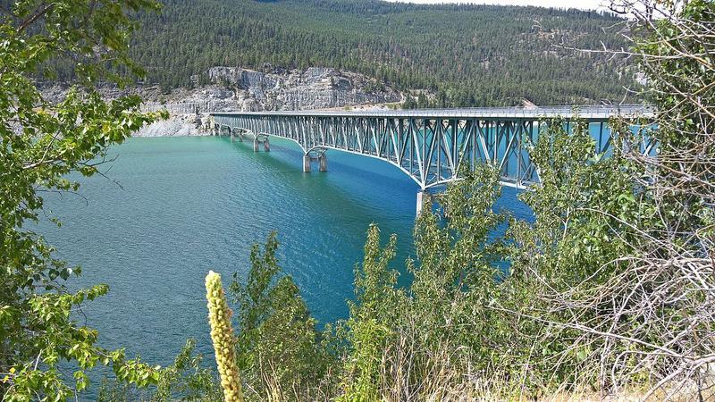 The Kootenai Bridge over Lake Koocanusa from the east bank.