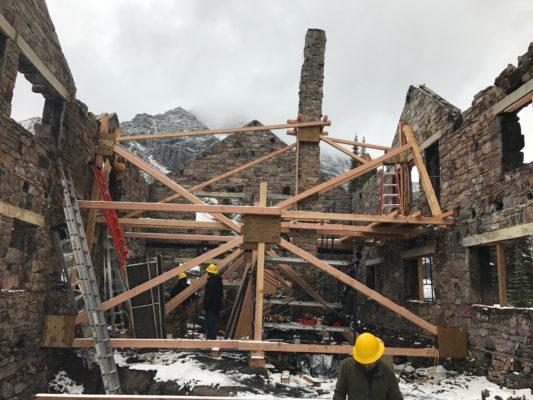 Scaffolding at the scorched Sperry Chalet in Glacier National Park.