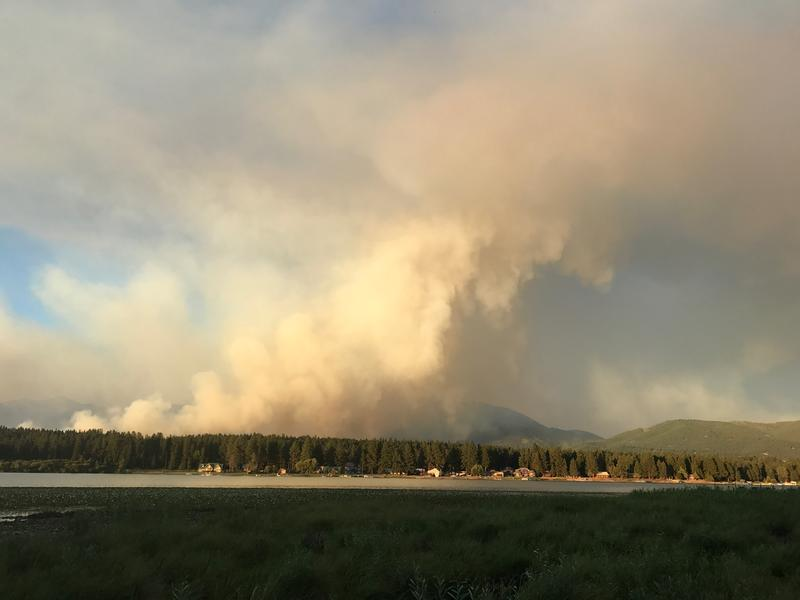 The Rice Ridge Fire seen from Seeley Lake on August 1, 2017.