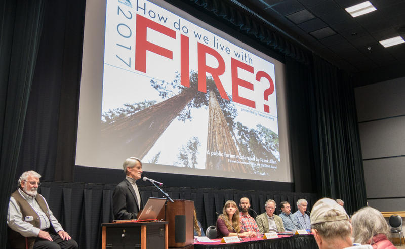 "Panelists at a forum called ""How do we live with fire?"" at the University of Montana, October 24 in Missoula."