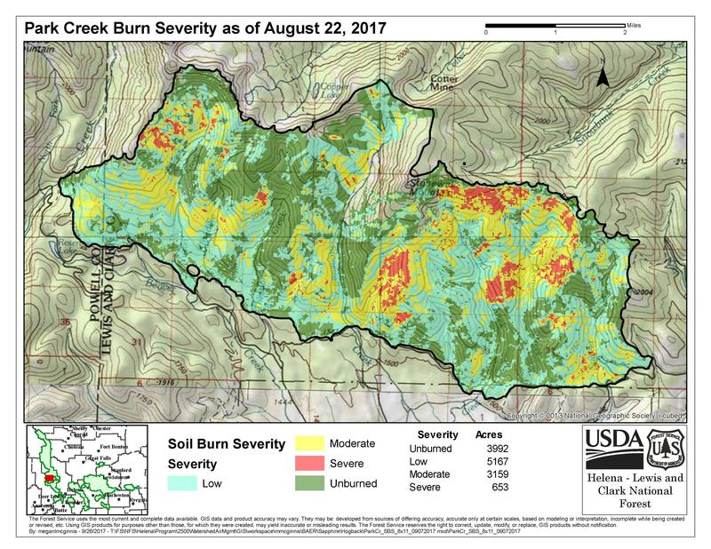 This map shows the burn severity as of August 22, 2017 for the Park Creek Fire, one of the biggest fires in the Helena-Lewis and Clark National Forest this year.