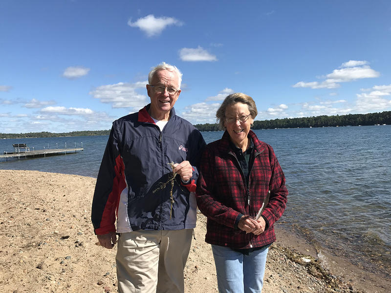 Tom and Jane Watson on the shores of Big Trout Lake in Minnesota.