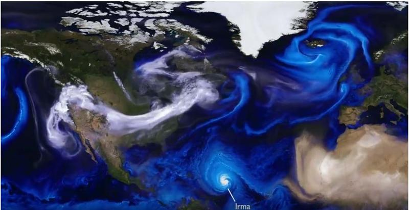 This visualization uses data from NASA satellites, combined with mathematical models in a computer simulation allow scientists to study the physical processes in our atmosphere.