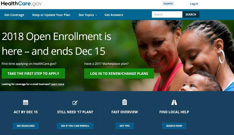 Screen capture of the healthcare.gov home page, November 1, 2017.