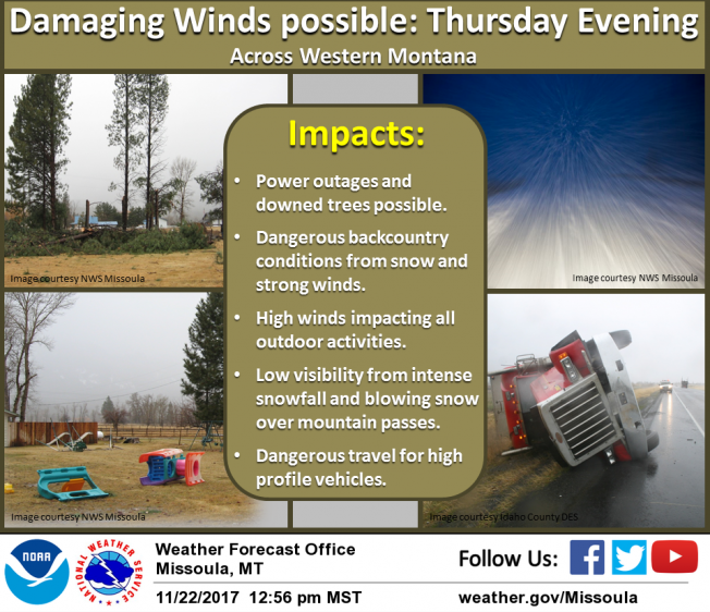 A very strong cold front will affect western Montana on Thursday evening. The main impact will be from the strong gusty winds along the cold front late Thursday afternoon through Thursday night.