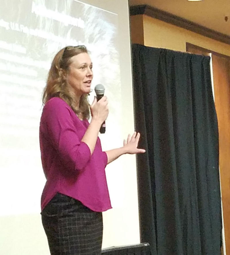 Montana Fish, Wildlife and Parks Biologist Dr. Cecily Costello speaks during the IGBC meeting in Missoula, MT, December 12, 2017.