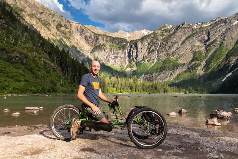 David Nickelson on a handcycle in Glacier Park.