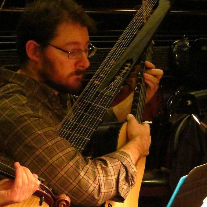 John Lenti plays lute, archlute, and the six-foot-long theorbo.