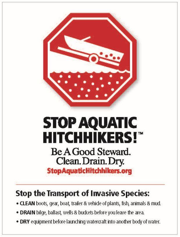 Stop aquatic hitchhikers. Be a good steward. Clean. Drain. Dry.