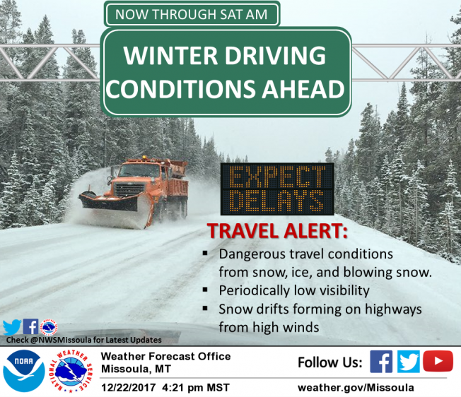 Snow, ice and blowing snow are creating dangerous travel conditions in parts of western Montana.