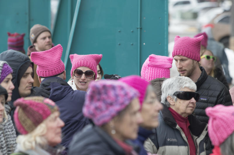 Marchers in pink pussy hats at the Missoula women's march, January 20, 2018.