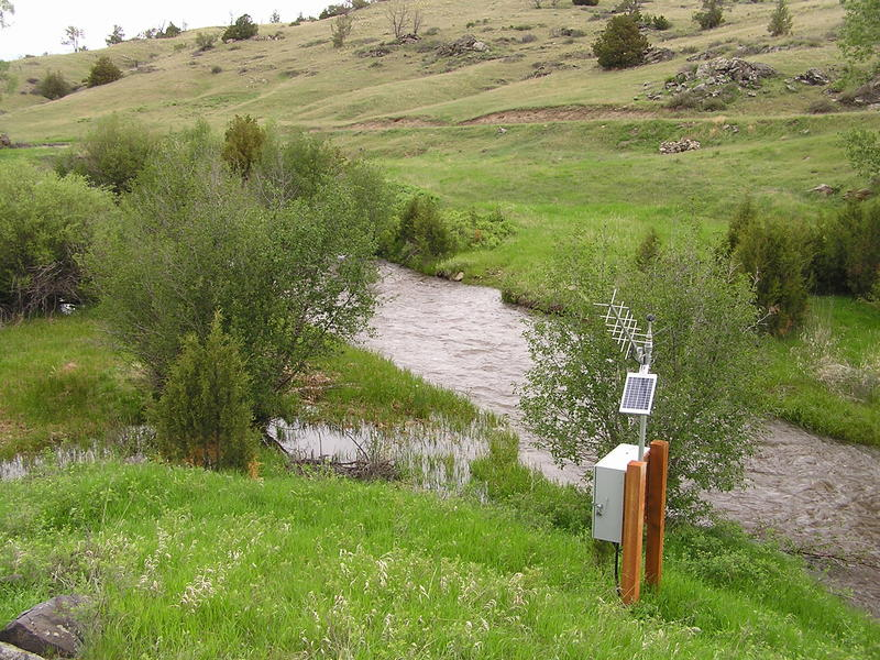 A U.S. Geological Survey streamgage on Willow Creek near Harrison, MT.  Because of funding reductions, the DNRC is discontinuing seven streamgages that are cooperatively managed by the state and USGS.