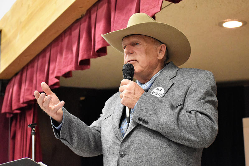 Cliven Bundy drew a large crowd in Paradise, MT January 20, 2018 in one of his first speeches since a conspiracy case against him was declared a mistrial.