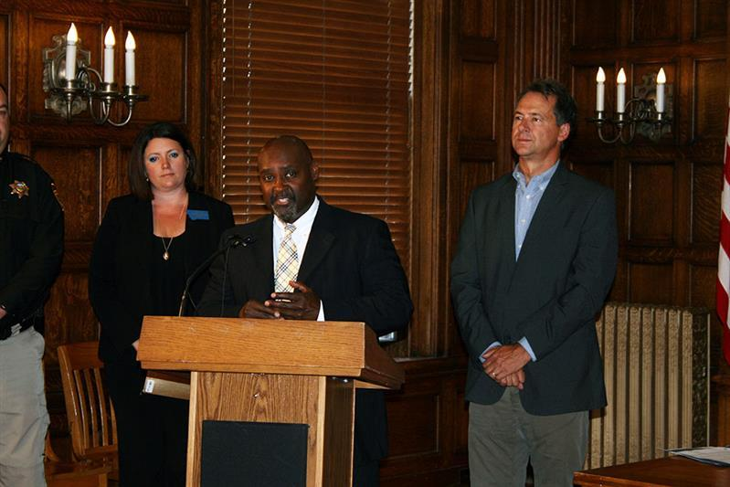 State corrections Director Reginald Michael's at a Capitol press conference July 19, 2017 with Sen. Cynthia Wolken and Gov. Steve Bullock.
