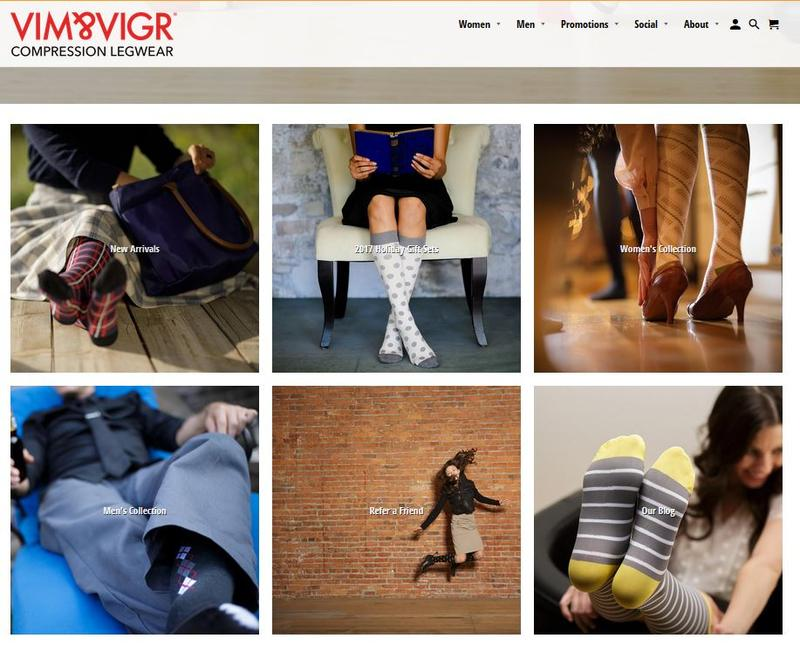 A screen capture from the Vim&Vigr website showing some of the compression socks they make.