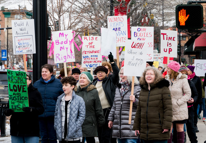 Some of the estimated 3,000 people gathered for the Missoula womens march, January 20, 2018.