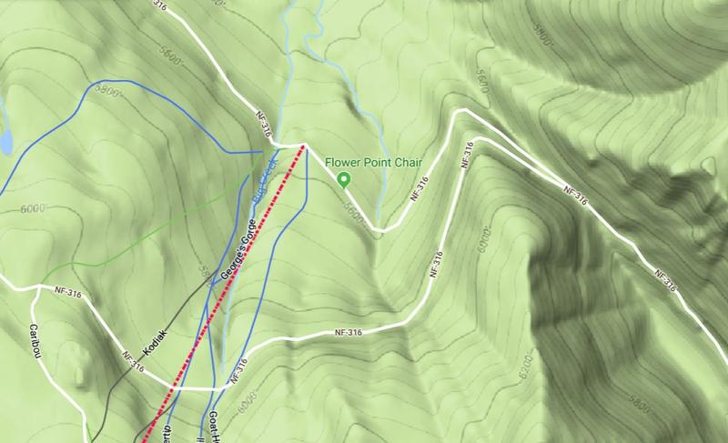 Missing skier Jonathan Torgerson was believed to be skiing out-of-bounds in the Canyon Creek area off of Flower Point at Whitefish Mountain..