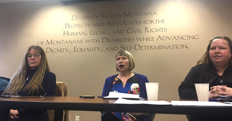 Vicki LaFond-Smith, mother of two sons with disabilities, Beth Brennaman, staff attorney with Disability Rights Montana, and Jackie Mohler, staff at Family Outreach at a Helena, MT press conference on Health Department Funding,  Monday, February 26, 2018.