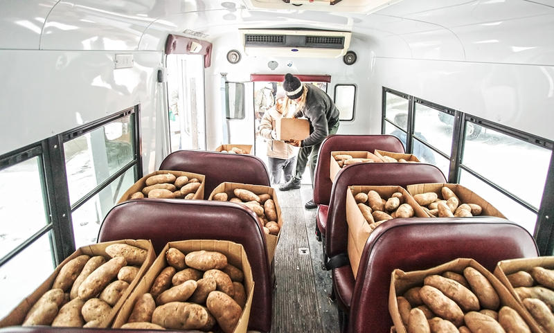 A team of volunteers rallied to get thousands of pounds of potatoes and bread to Heart Butte after a severe storm stranded the community on New Year's Day.