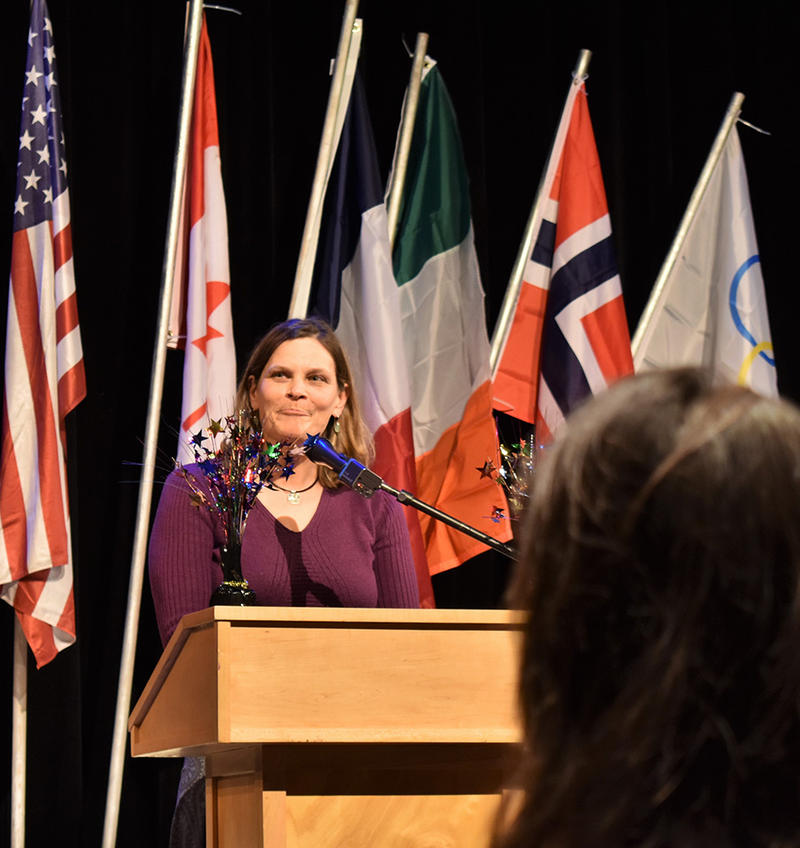 Olympian Hilary Lindh speaks during the Whitefish Chamber of Commerce Awards Gala, Feb. 7, 2018.