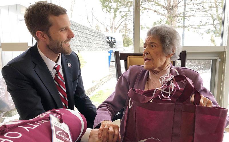 UM President Seth Bodnar meets with UM's oldest living graduate Emma Lommasson in Missoula, Thursday Feb. 15, 2018.
