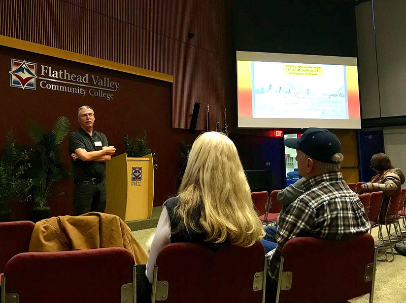 Tony Harwood lectures on Native American uses and approach to wildland fire at the first Wildland Fire in Western Montana lecture event in Kalispell, MT February 23, 2018.