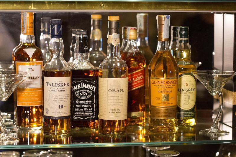Liquor bottles.