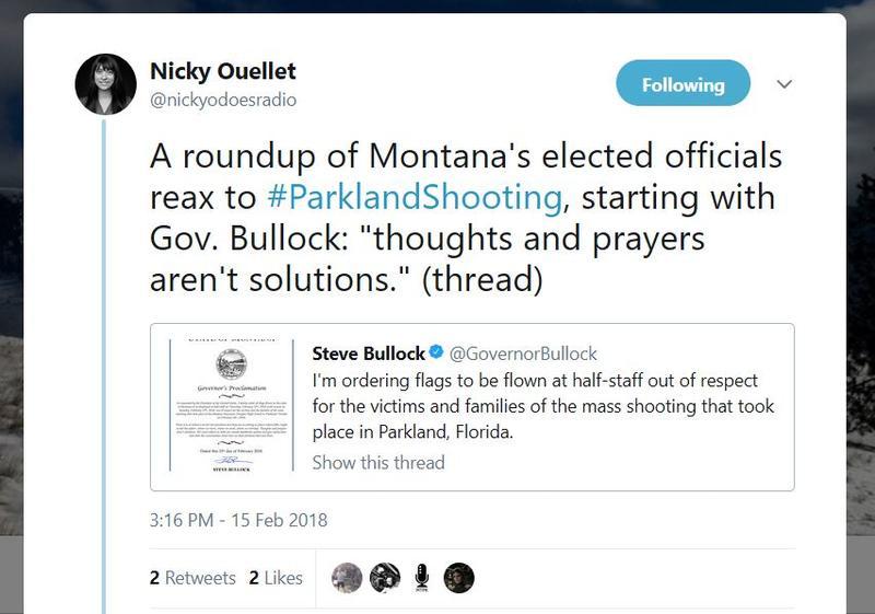 Montana politicians react to the Parkland shooting in Florida.