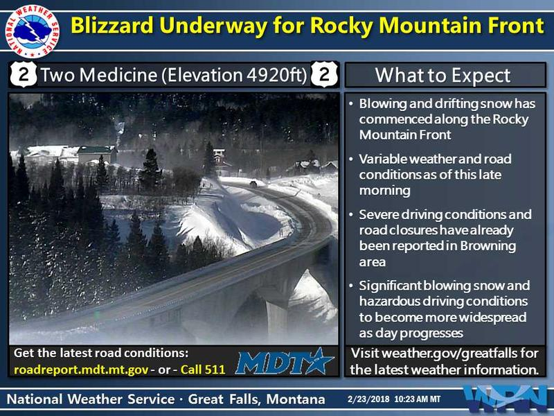 A blizzard bringing high winds, whiteouts and dangerous travel conditons has hit parts of NW Montana today.